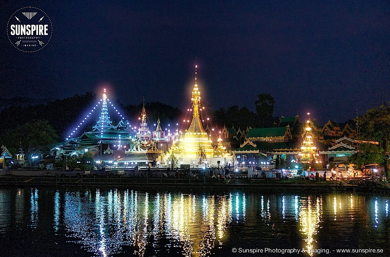 Wat Chong Kham at night, Mae Hong Son, Thailand