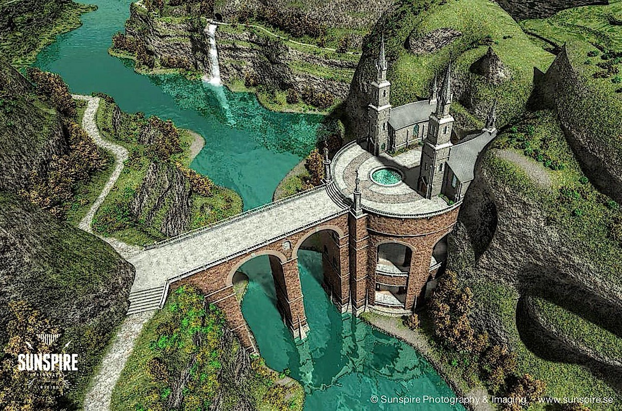 A bridge over the canyon... Rendered in Carrara Pro.