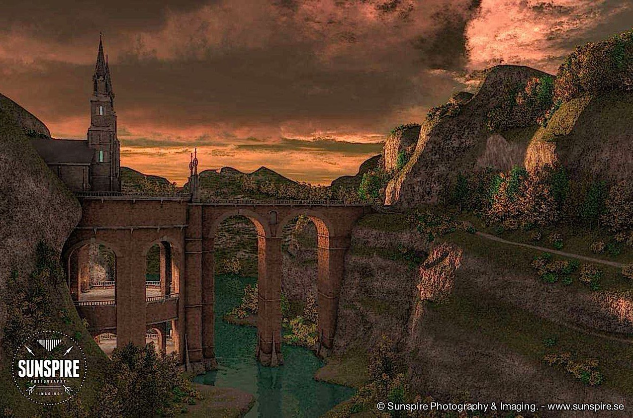 A bridge over the canyon.... Nightfall. Rendered in Carrara Pro.