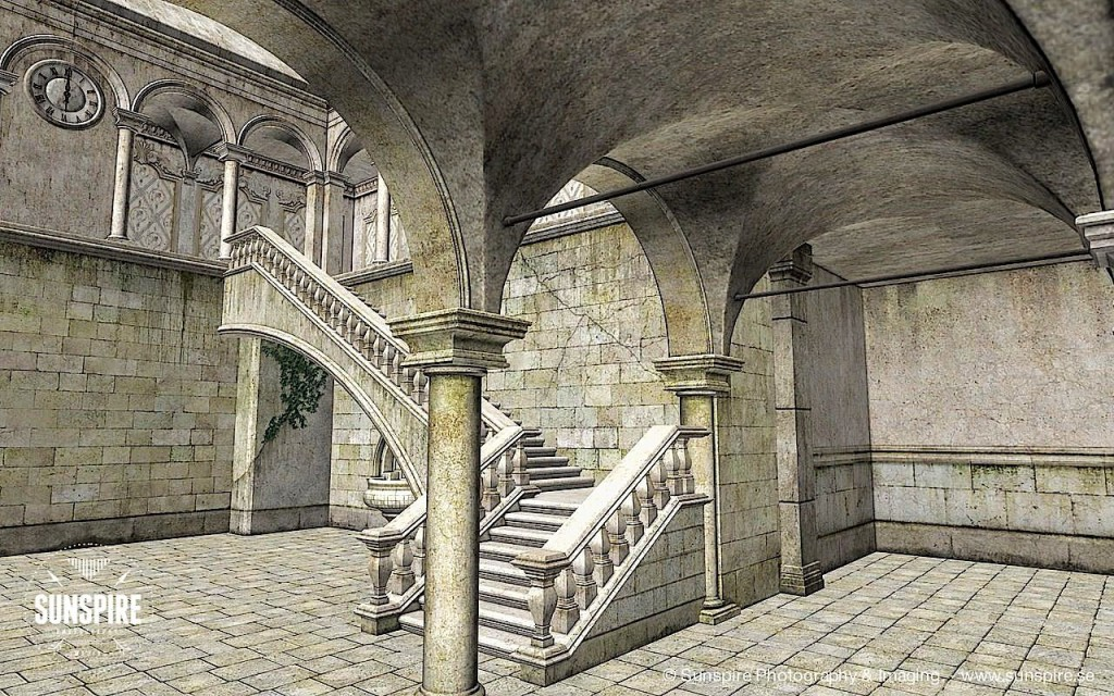 Architectural view of a courtyard. Rendered in Carrara Pro.