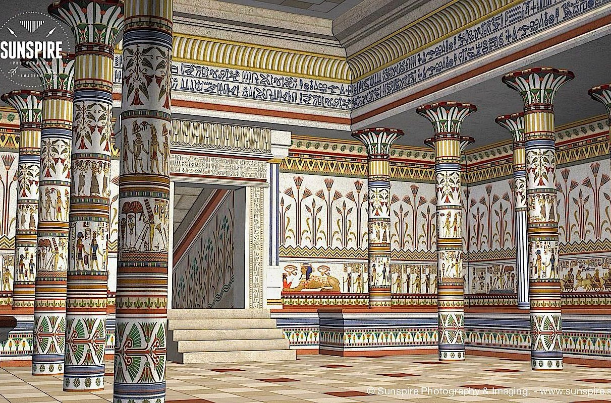 Architectural view of an ancient Egyptian hall. Rendered in Poser 2010 Pro.
