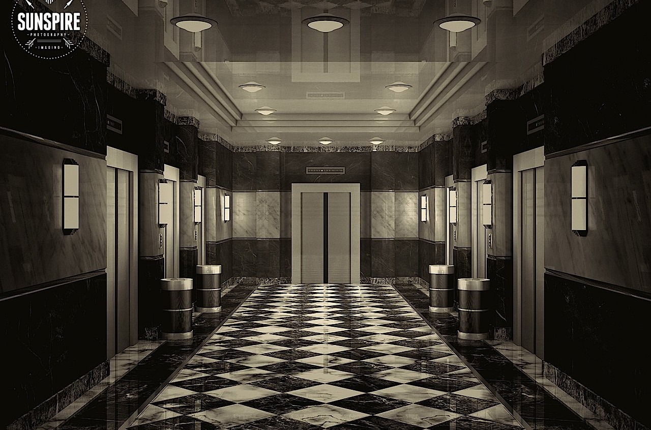 Lobby with elevators. Lot