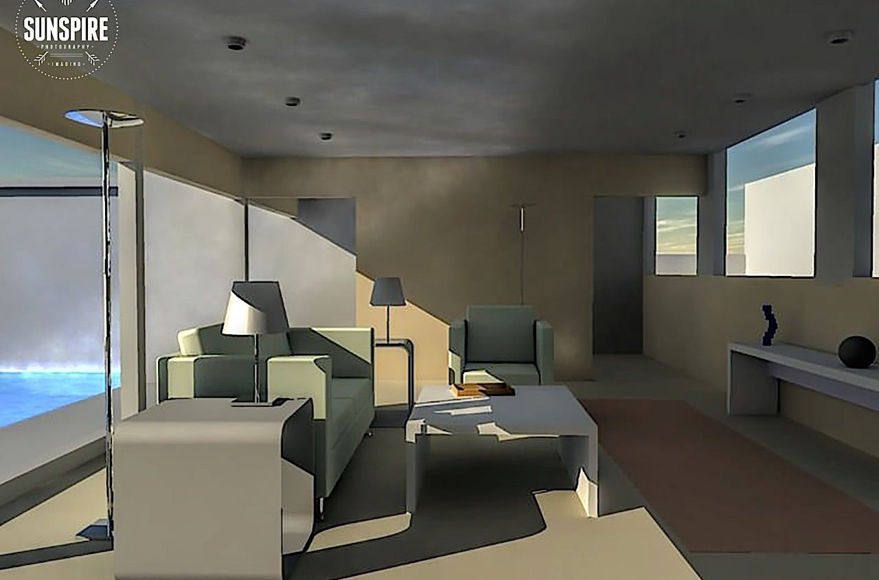 Example of a architectural view of a house interior w. pool. Rendered in Carrara Pro.
