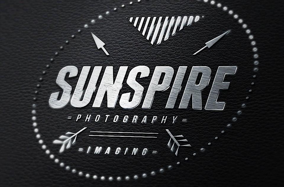 3D Logotype, Chrome on leather, alt. 2. Created in Photoshop CC