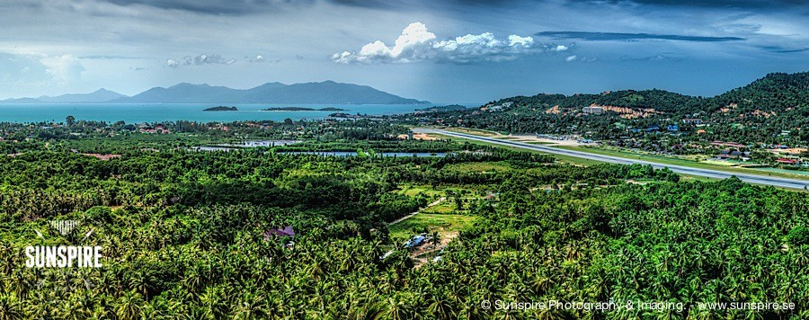 Panorama - Samui Airport, Bo Phut and Choeng Mon seen from Kao Hua Jook Pagoda Koh Samui TH