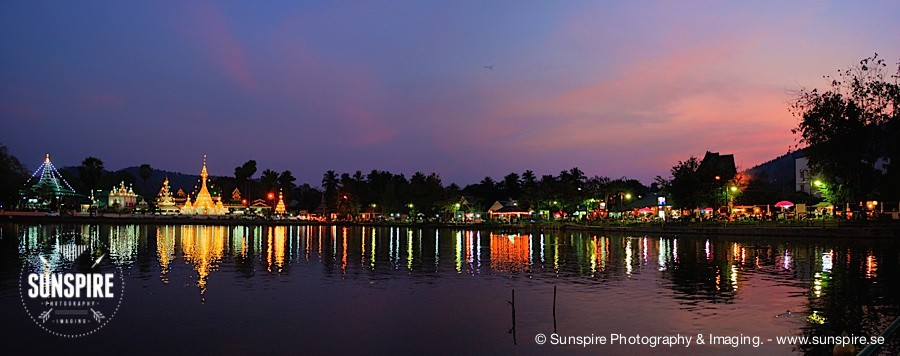 Panorama - Evening at Wat Chong Kam Temple, Mae Hong Son, TH