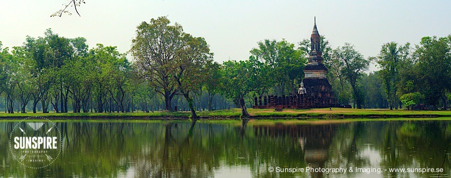 Panorama - Sukhothai Historical Park, Pond view. Sukhothai, TH