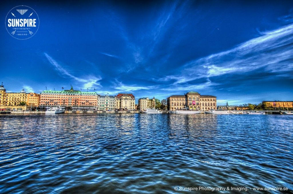 Stockholm Ström, view over Skeppsholmen, The National Museum and Grand Hotel.
