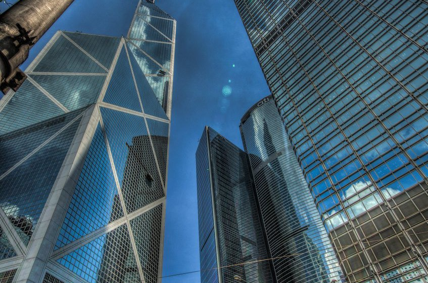 Skyscrapers on Hong Kong island....