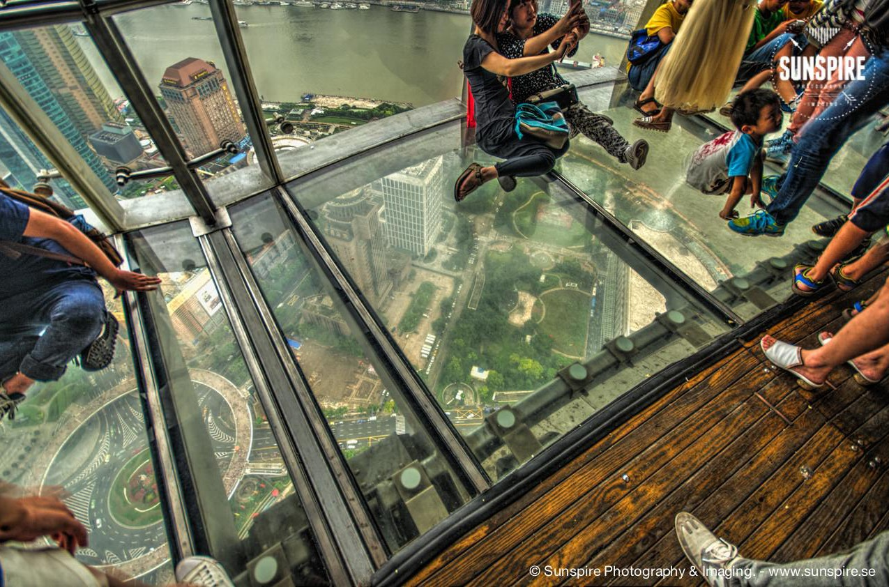 Glass floor on the observation deck....