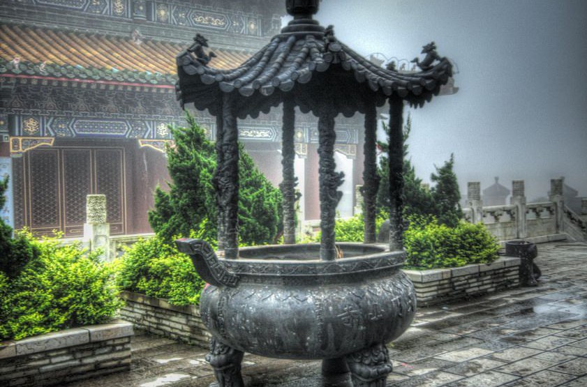 Incense burner at Tianmenshan Mountain Temple